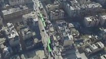 Aerial footage shows Aleppo evacuation