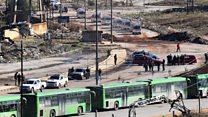 حلب سے شہریوں کا انخلا شروع