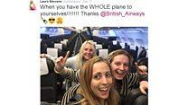Watch: Three women on an empty plane 'treated like celebrities'