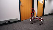Six-legged 'spider' robot delivers package
