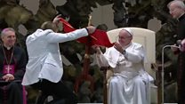 Pope helps to 'levitate' table