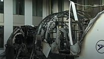 Flight simulator catches fire