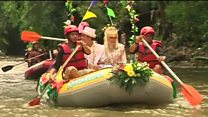 Couple sail to wedding on Indonesia river