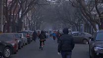 雾霾略有消散后的北京