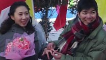 Group weddings at the 2017 Harbin Ice Festival in China