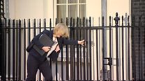 Home Secretary's high heel gets stuck in Downing Street