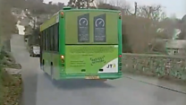 Guernsey bus driving on wrong side of the road