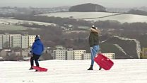 Snowy scenes on hills, roads and beaches