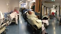 Patient films A&E bed 'chaos' in hospital corridor