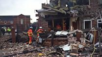 Terraced house destroyed by explosion