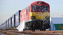 Freight train arrives in UK from China