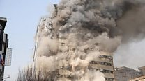 Blazing Tehran high-rise collapses
