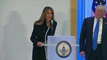 Melania speaks, at Trump's insistence