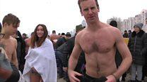 BBC joins locals in frozen river dip