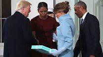 أوباما وزوجته يرحبان بدونالد ترامب وزوجته في البيت الأبيض
