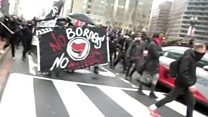 Inauguration: Violent protests on streets
