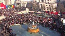 Timelapse shows Trafalgar Square rally