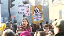 Trump protests in Cardiff and Bangor
