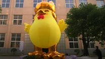 Inflatable 'Trump' rooster a hit