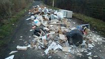 'Obscene' fly-tip leaves road blocked