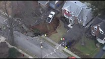 Front yard swallowed up by sinkhole