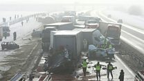 Drone shows Poland pile-up aftermath