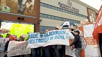 Blackburn Rovers and Blackpool Fc fans stage a joint protest outside Ewood Park