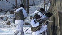 นาวิกโยธินเกาหลีใต้-สหรัฐฯ ซ้อมรบร่วมกลางหิมะ