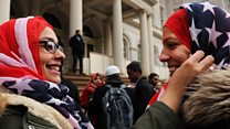 Non-Muslim Americans wear hijab in solidarity