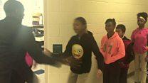 Teacher's unique handshake for every pupil