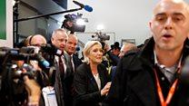 Le Pen'in basın toplantısında gazeteciye müdahale