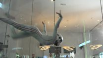Skydivers compete in wind tunnel