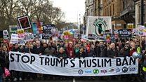 آلاف المتظاهرين ضد دونالد ترامب في لندن