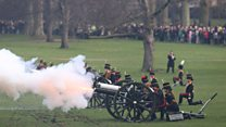 Gun salute marks Queen's 65 years on throne