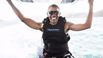 Obama goes kitesurfing with Branson