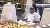 ஜெயலலிதா சமாதியில் தியானநிலையில் பன்னீர் செல்வம்