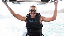 Tak lagi menjabat presiden, Obama berpelesir sambil belajar kitesurfing