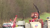 Work under way to clear lorry from A74(M)