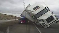 Strong winds topple truck on highway