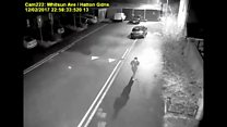 Police footage of man running after church fire