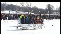 Ice dragon boat racing competition
