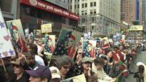 تظاهرات ضد ترامپ در شهرهای بزرگ آمریکا در روز رییس جمهور