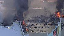 Aerials show Melbourne plane aftermath