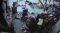 Lucky escape as car crashes into shop