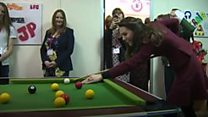 Duchess shows off pool-playing skills