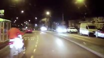 Biker caught on dashcam
