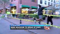 Airborne protester grabs Confederate flag