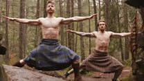 Scottish men doing yoga in kilts proves big hit