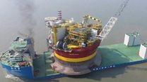 จีนใช้เรือลอยตัวกึ่งจมส่งแท่นขุดเจาะน้ำมันไปทะเลเหนือ