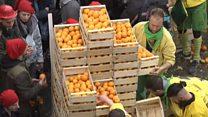 """""""حرب البرتقال"""": مهرجان شعبي في إيطاليا"""